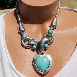 Large Chunky Boho Stone Statement Heart Necklace